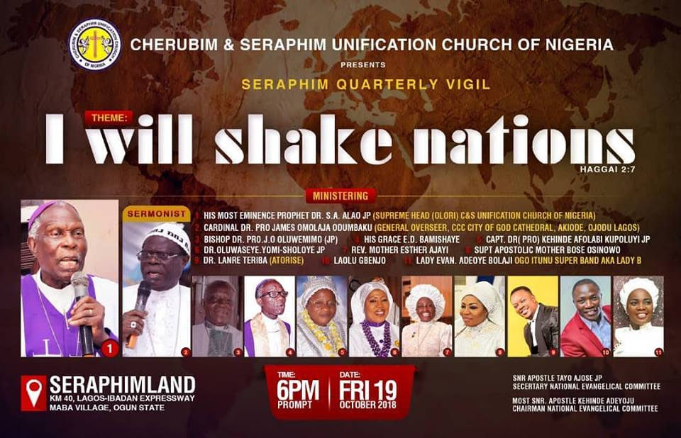 Seraphim Quarterly Vigil - I will shake nations HAGGAI 2:7