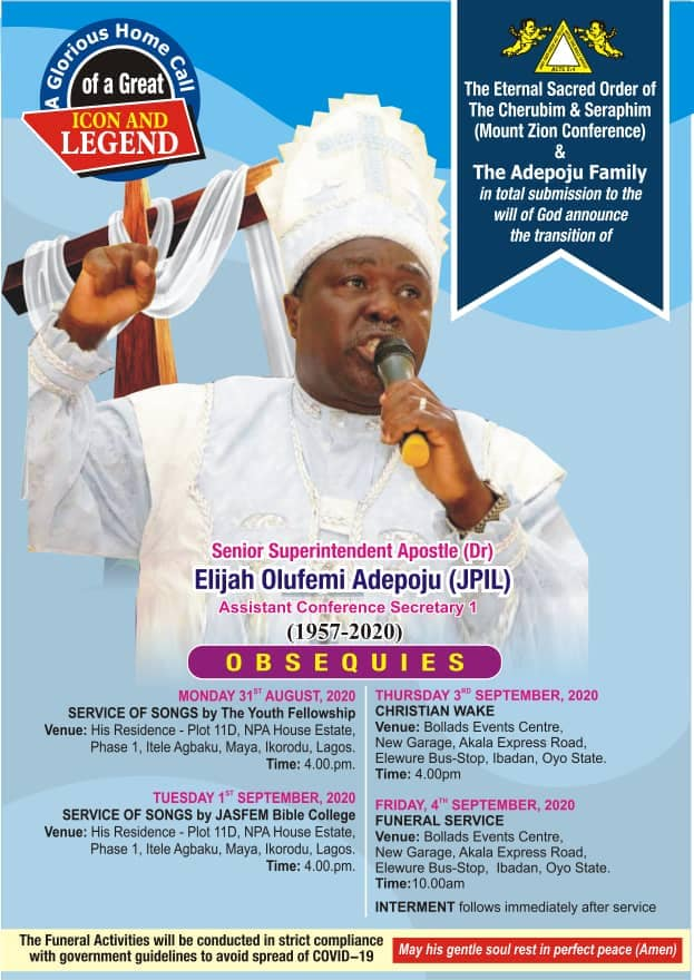 Official Release: The Eternal Sacred Order of C&S (Mount Zion) and Adepoju Family announce burial arrangements of Elder Femi Adepoju