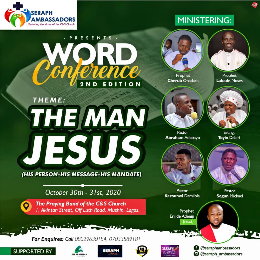 """Seraph Ambassadors invites you to Word Conference 2020 - """"THE MAN JESUS"""""""